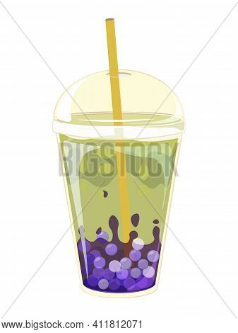 Bubble Tea Doodle Style Vector Doodle Illustration. Soft Drinks With Logo And Doodle Style Advertise