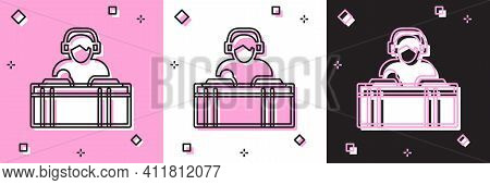 Set Dj Wearing Headphones In Front Of Record Decks Icon Isolated On Pink And White, Black Background