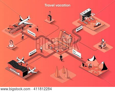 Travel Vacation Isometric Web Banner. World Tourism And Flights Flat Isometry Concept. Sea Cruise, B