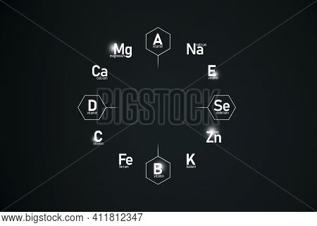 Graphic Cirlce Of Top Vitamins And Microelements On Dark Green Background. Template For Beauty Produ