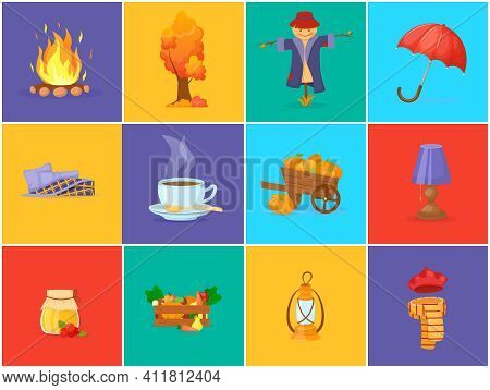 Multicolored Autumn Harvest Icons. Umbrella, Scarecrow, Wooden Box With Vegetables, Hat, Scarf, Book