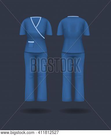 Realistic Woman Doctor Coat Mock Up. Empty Lab Uniform, Doctor Medical Laboratory Clothes, Hospital