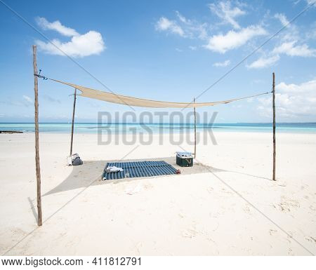 Perfect place under shadow on beautiful beach