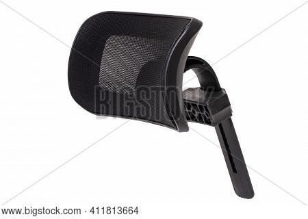 Spare Parts Isolated. Closeup Of A Headrest For A Office Or Computer Chair Isolated On A White Backg