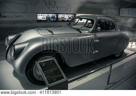 Munich/ Germany - May, 24 2019: 1939 Bmw 328 Mille Miglia Roadster In Bmw Museum/ Bmw Welt