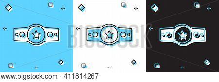 Set Boxing Belt Icon Isolated On Blue And White, Black Background. Belt Boxing Sport Championship Wi