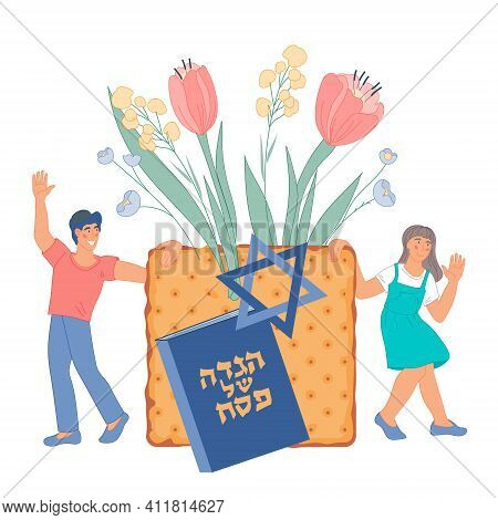 Banner Or Greeting Card For Jewish Passover Holiday With Children Holding Matzoth. Text On Hebrew Bo