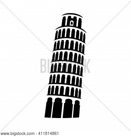 Pisa Tower Sign Architectural Monument Icon Vector Illustration