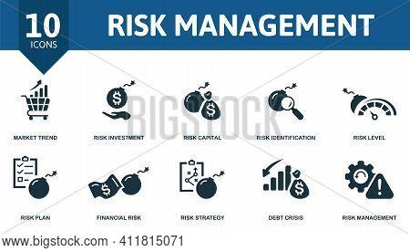 Risk Management Icon Set. Contains Editable Icons Risk Management Theme Such As Investment, Risk Ide