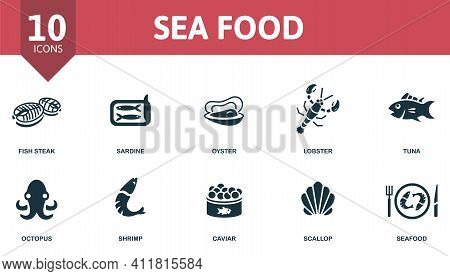 Seafood Icon Set. Contains Editable Icons Seafood Theme Such As Sardine, Lobster, Octopus And More.