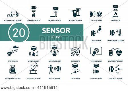 Sensor Icon Set. Contains Editable Icons Sensor Theme Such As Flame Detector, Alcohol Sensor, Gas Se