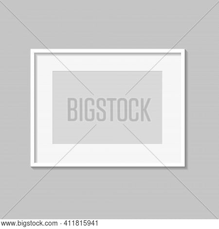 White Blank Photo Or Picture Frame With Mat And Shades Isolated On Gray Background. Vector Illustrat