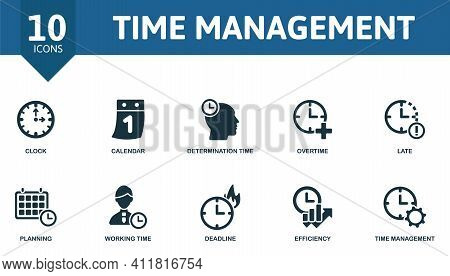 Time Management Icon Set. Contains Editable Icons Time Management Theme Such As Calendar, Overtime,