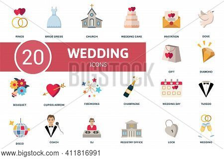 Wedding Icon Set. Contains Editable Icons Wedding Theme Such As Bride Dress, Wedding Cake, Dove And