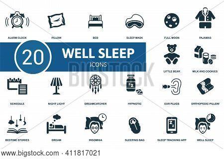 Well Sleep Icon Set. Contains Editable Icons Well Sleep Theme Such As Pillow, Sleep Mask, Pajamas An