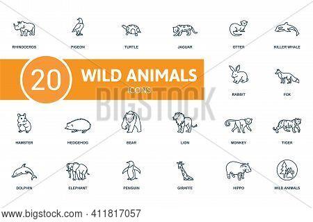 Wild Animals Icon Set. Contains Editable Icons Wild Animals Theme Such As Pigeon, Jaguar, Killer Wha