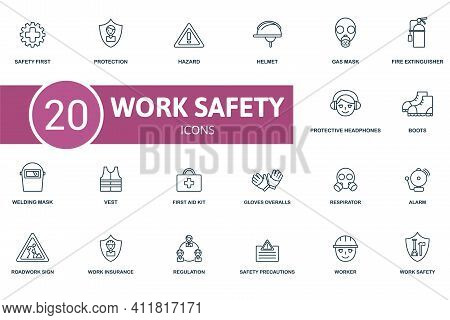 Work Safety Icon Set. Contains Editable Icons Work Safety Theme Such As Protection, Helmet, Fire Ext