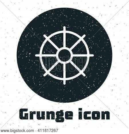 Grunge Dharma Wheel Icon Isolated On White Background. Buddhism Religion Sign. Dharmachakra Symbol.
