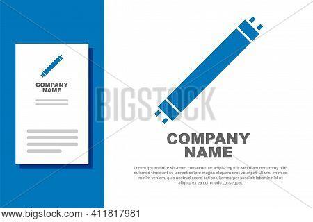 Blue Long Luminescence Fluorescent Energy Saving Lamp Icon Isolated On White Background. Logo Design