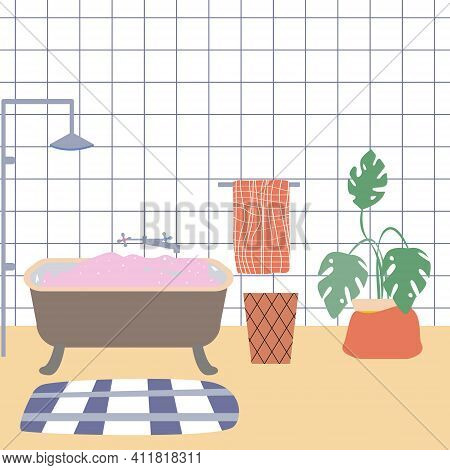 The Interior Of A Cute Bathroom. Bathroom With Foam, Towel, Potted Monstera, Mat