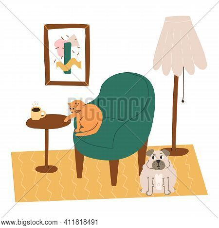 Cute And Funny Pets Mischief Scene. A Naughty Cat Reaches For A Mug Of Coffee On A Table, A Pug Near
