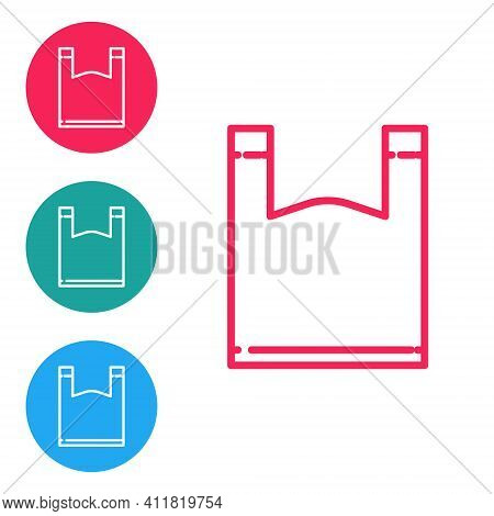 Red Line Plastic Bag Icon Isolated On White Background. Disposable Cellophane And Polythene Package