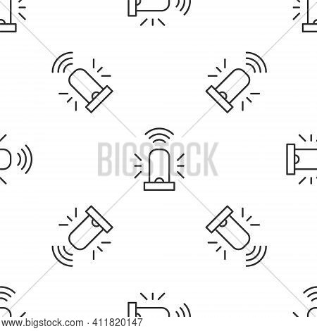 Grey Line Smart Flasher Siren System Icon Isolated Seamless Pattern On White Background. Emergency F