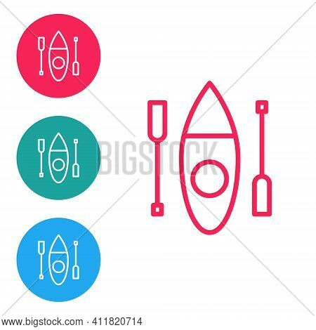 Red Line Kayak And Paddle Icon Isolated On White Background. Kayak And Canoe For Fishing And Tourism