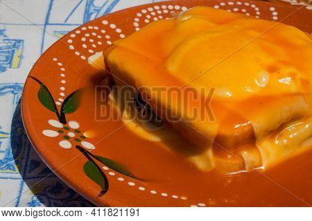 Francesinha, Traditional  Portuguese Sandwich Originally From Porto. National Cuisine Concept.