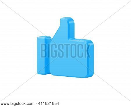 Blue 3d Like Vector Icon. Digital Finger Raised Upwards Symbol Of Approval And Consent.