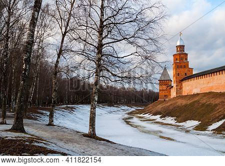 Veliky Novgorod, Russia. Kremlin Park Alley And Veliky Novgorod Kremlin Fortress, Spring Landscape O