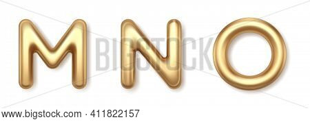 Golden Metal M N O 3d Balloons Letters Vector Icons. Yellow Precious Font With Shiny Highlights And