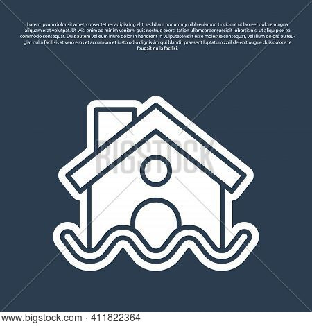Blue Line House Flood Icon Isolated On Blue Background. Home Flooding Under Water. Insurance Concept