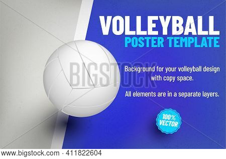 Background With Gently Grungy Texture And Volleyball Ball - Place For Your Text, Poster Or Invitatio