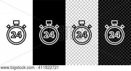 Set Line Stopwatch 24 Hours Icon Isolated On Black And White Background. All Day Cyclic Icon. 24 Hou