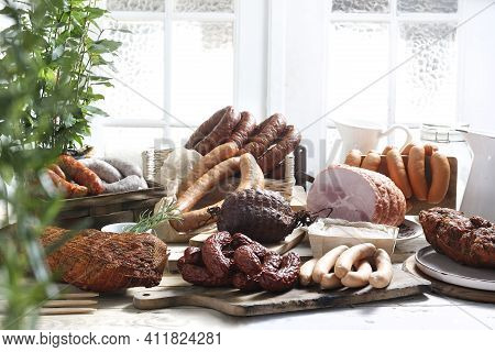 Rustic Composition Of Homemade, Smoked Cold Cuts, Meats, Sausages, Hams, Loins.