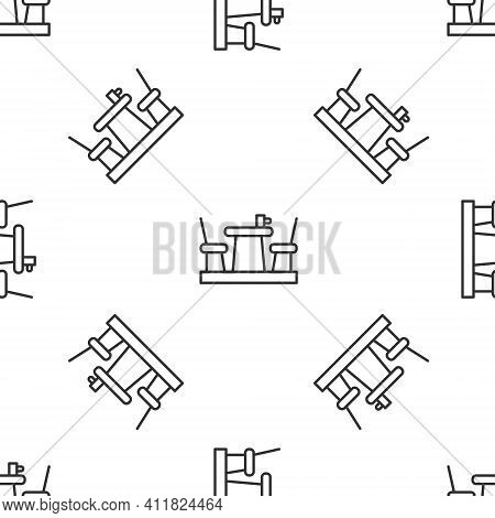Grey Line French Cafe Icon Isolated Seamless Pattern On White Background. Street Cafe. Table And Cha