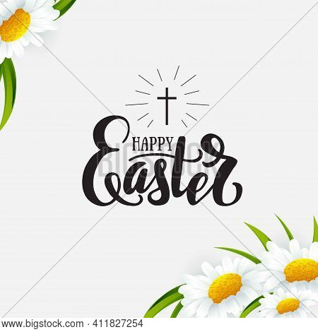 Happy Easter  Banner With Chamomile Flowers And Lettering. Sale, Offer Banne, Greeting Card