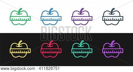 Set Line Apple And Measuring Tape Icon Isolated On Black And White Background. Excess Weight. Health