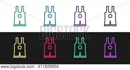 Set Line Wrestling Singlet Icon Isolated On Black And White Background. Wrestling Tricot. Vector