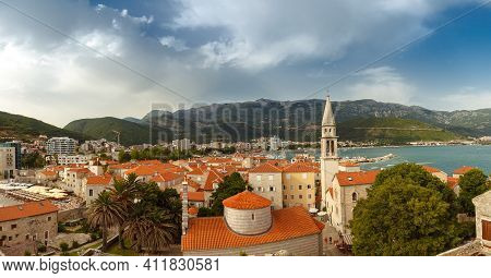 Top View On The Roof In The Historical Town Of Montenegro, A Trip Destination On A Cruise. Popular T