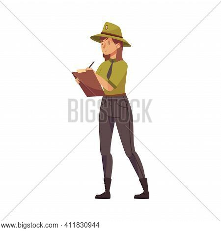 Woman As Park Ranger In Khaki Hat Protecting And Preserving National Parkland Detecting Violation Ve