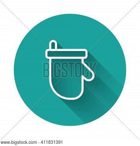 White Line Sauna Mittens Icon Isolated With Long Shadow Background. Mitten For Spa. Green Circle But