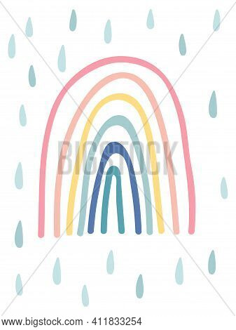 Hand Drawn Rainbow With Raindrops. Cute Kids Nursery Icon. Baby Shower Poster. Lovely Cartoon Rainbo