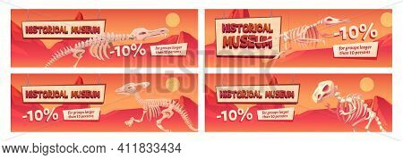 Historical Museum Promo Banner With Dinosaur Skeletons. Discount Coupons With Ten Percent Off For La