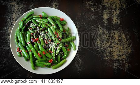 Green Beans On A Plate. Healthy Food Concept.