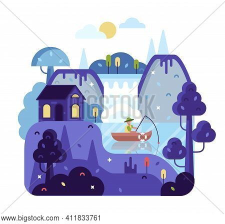 Illustration In Flat Cartoon Stile, Fisherman With A Fishing Rod In The Boat On The River - Forest L