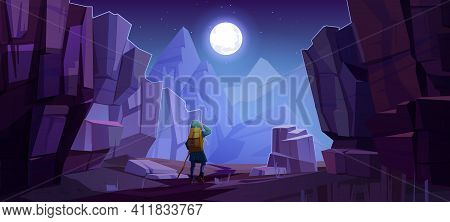 Hiker Man On Road In Mountains At Night. Vector Cartoon Landscape Of Nature Park With Canyon, Stone