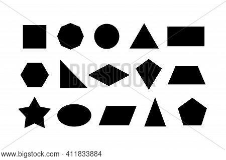 2d Basic Shapes Collection, Set Of Basic Geometric Shape, Black Color Isolated On White Background -