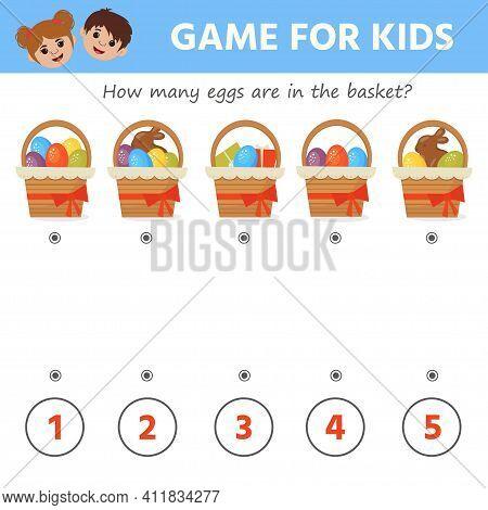 Education Game For Kids. Count The Eggs In The Basket. Easter. Printable Worksheet Vector Illustrati